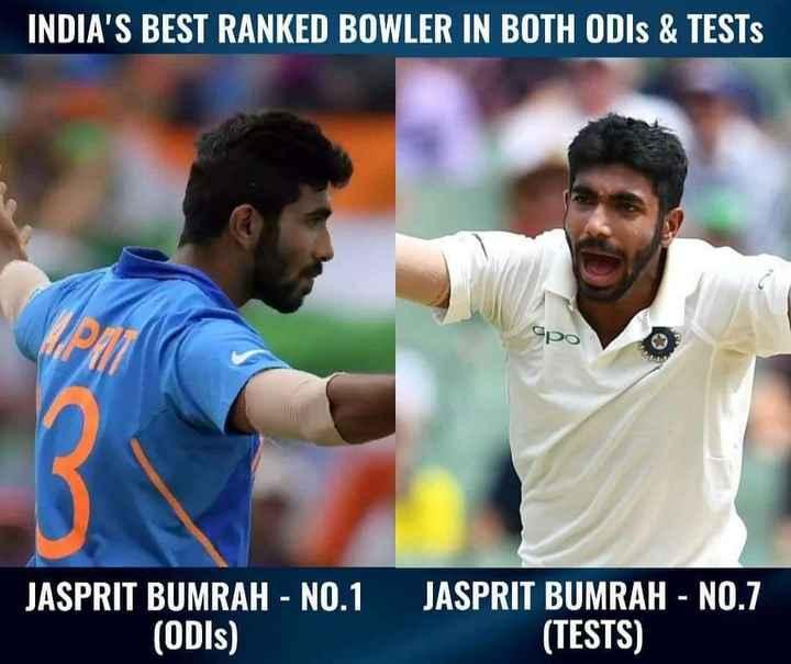 🏏 Ind vs WI - INDIA ' S BEST RANKED BOWLER IN BOTH ODIs & TESTS JASPRIT BUMRAH - NO . 1 ( ODIs ) JASPRIT BUMRAH - NO . 7 ( TESTS ) - ShareChat