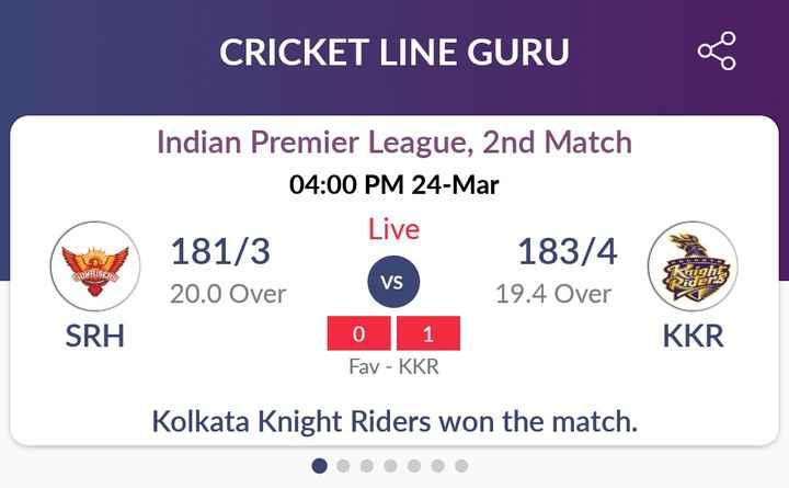 💜 KKR : કોલકાતા નાઈટ રાઈડર્સ - CRICKET LINE GURU Indian Premier League , 2nd Match 04 : 00 PM 24 - Mar Live 181 / 3 183 / 4 19 . 4 Over SUNRISERS VS 20 . 0 Over SRH 0 1 KKR Fav - KKR Kolkata Knight Riders won the match . . . . . . - ShareChat