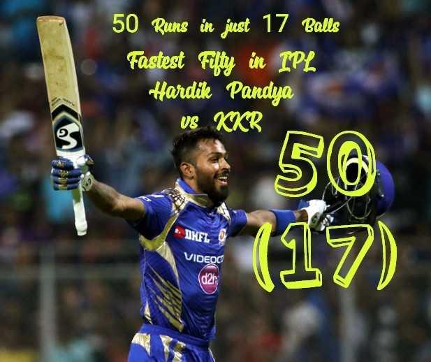 🏏KKR vs MI - 50 Runs in just 17 Balls Fastest Fifty in IPL Hardik Pandya US KKR ve 2 56 * DMFL 117 ) VIDEOC - ShareChat