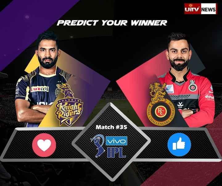 KKR vs RCB - UITV NEWS PREDICT YOUR WINNER Yuxcori OYAL ANGAL CHALLE CEPS BIS Match # 35 vivo > > IPL - ShareChat