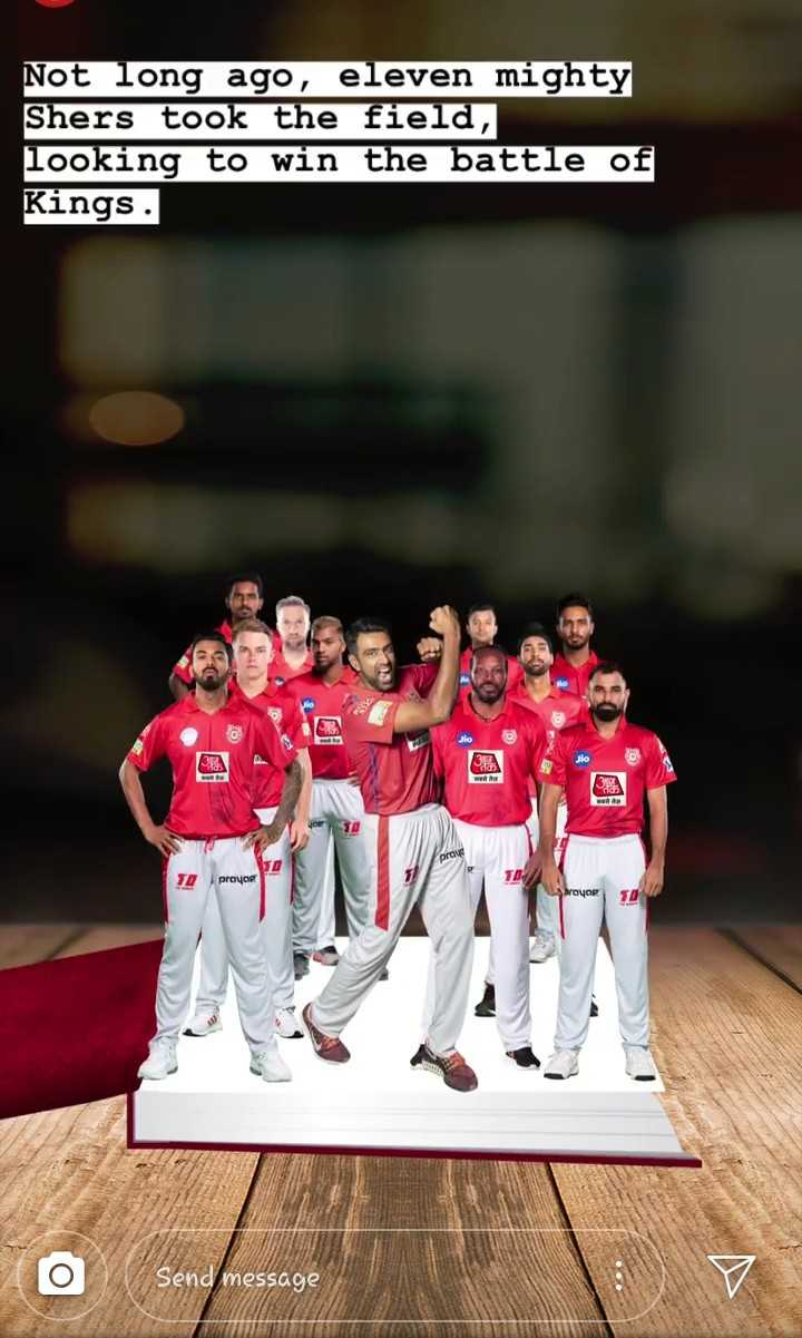 🏏KXIP vs CSK - Not long ago , eleven mighty Shers took the field , looking to win the battle of Kings . 33 JO TD prayor TD Send message - ShareChat