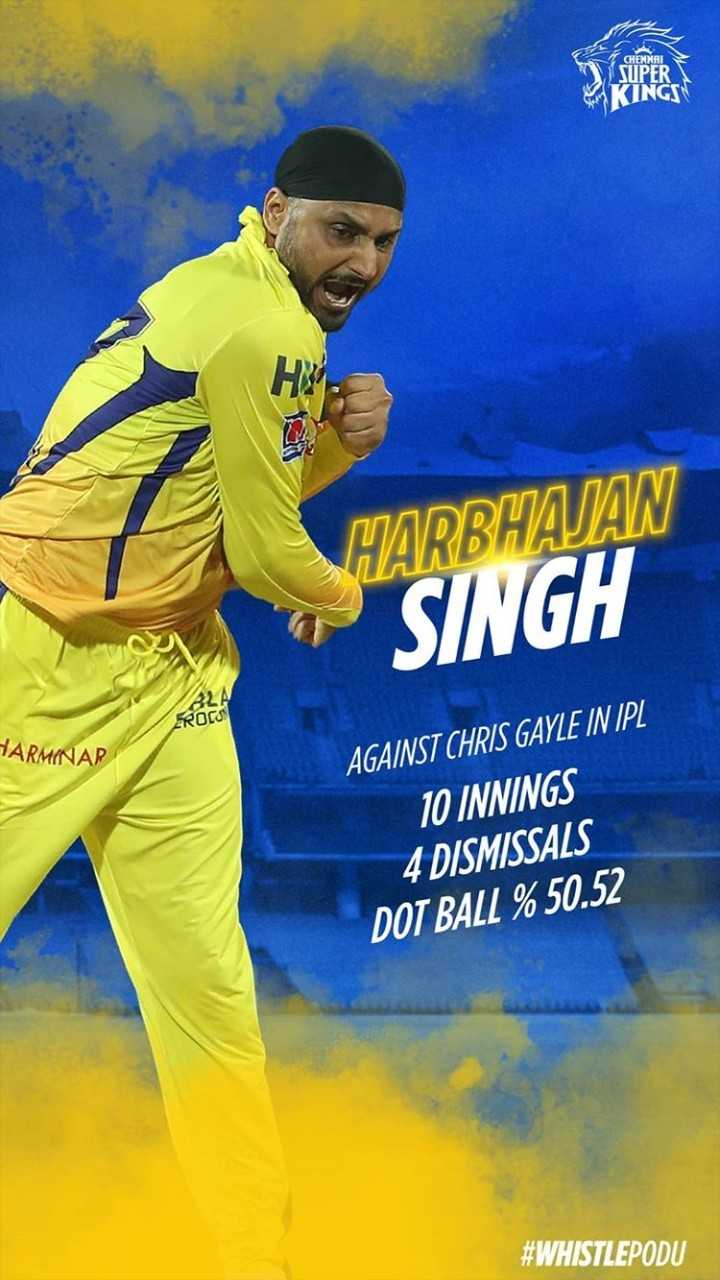 🏏KXIP vs CSK - CHENNAI SUPER KINGS HARBHAJAN SINGH BLA EROCK HARMINAR AGAINST CHRIS GAYLE IN IPL 10 INNINGS 4 DISMISSALS DOT BALL % 50 . 52 # WHISTLEPODU - ShareChat