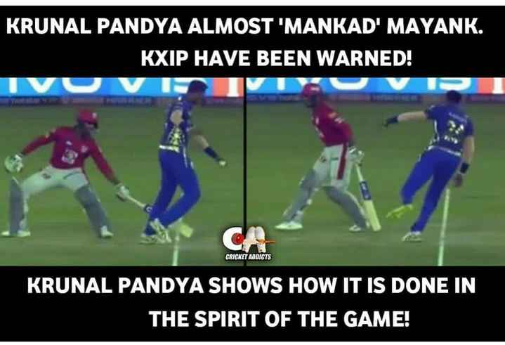 🏏KXIP vs MI - KRUNAL PANDYA ALMOST ' MANKAD ' MAYANK . KXIP HAVE BEEN WARNED ! IVU VIIVI CRICKET ADDICTS KRUNAL PANDYA SHOWS HOW IT IS DONE IN THE SPIRIT OF THE GAME ! - ShareChat