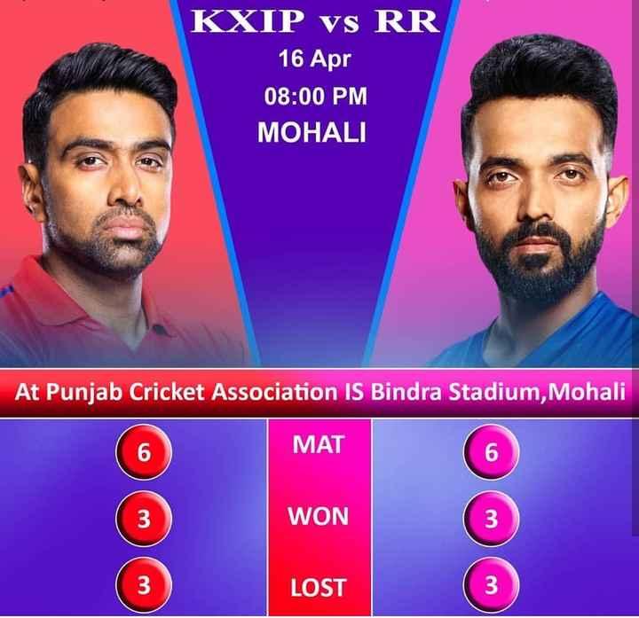 🏏KXIP vs RR - KXIP vs RR 16 Apr 08 : 00 PM MOHALI At Punjab Cricket Association IS Bindra Stadium , Mohali MAT WON 3 LOST 3 - ShareChat