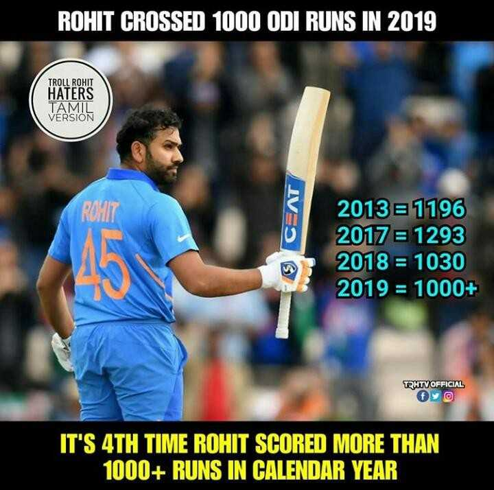 🔴Live Score IND vs BAN - ROHIT CROSSED 1000 ODI RUNS IN 2019 TROLL ROHIT HATERS VERSION IVOS 2013 = 1196 2017 = 1293 2018 = 1030 2019 = 1000 + TRHTV OFFICIAL IT ' S 4TH TIME ROHIT SCORED MORE THAN 1000 + RUNS IN CALENDAR YEAR - ShareChat
