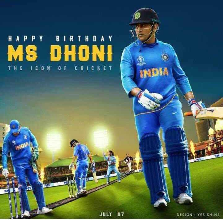 🔴Live Score IND vs SL - HAPPY BIRTHDAY MS DHONI THE ICON OF CRICKET INDIA JULY 07 DESIGN : YES SHINE - ShareChat