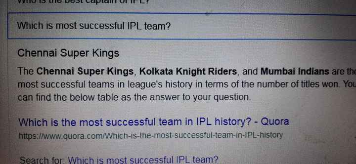 🏏MI vs CSK - Which is most successful IPL team ? Chennai Super Kings The Chennai Super Kings , Kolkata Knight Riders , and Mumbai Indians are the most successful teams in league ' s history in terms of the number of titles won . You can find the below table as the answer to your question . Which is the most successful team in IPL history ? - Quora https : / / www . quora . com / Which - is - the - most - successful - team - in - IPL - history Search for : Which is most successful IPL team ? - ShareChat