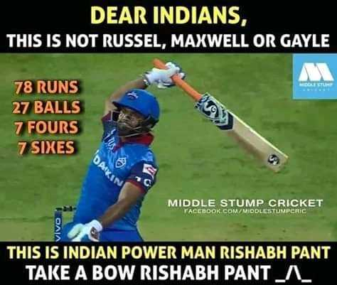 MI vs Dc - DEAR INDIANS , THIS IS NOT RUSSEL , MAXWELL OR GAYLE 78 RUNS 27 BALLS 7 FOURS 7 SIXES DAY MIDDLE STUMP CRICKET TACEBOOK . COM / MIDDLESTUMPCRIC THIS IS INDIAN POWER MAN RISHABH PANT TAKE A BOW RISHABH PANTA - ShareChat