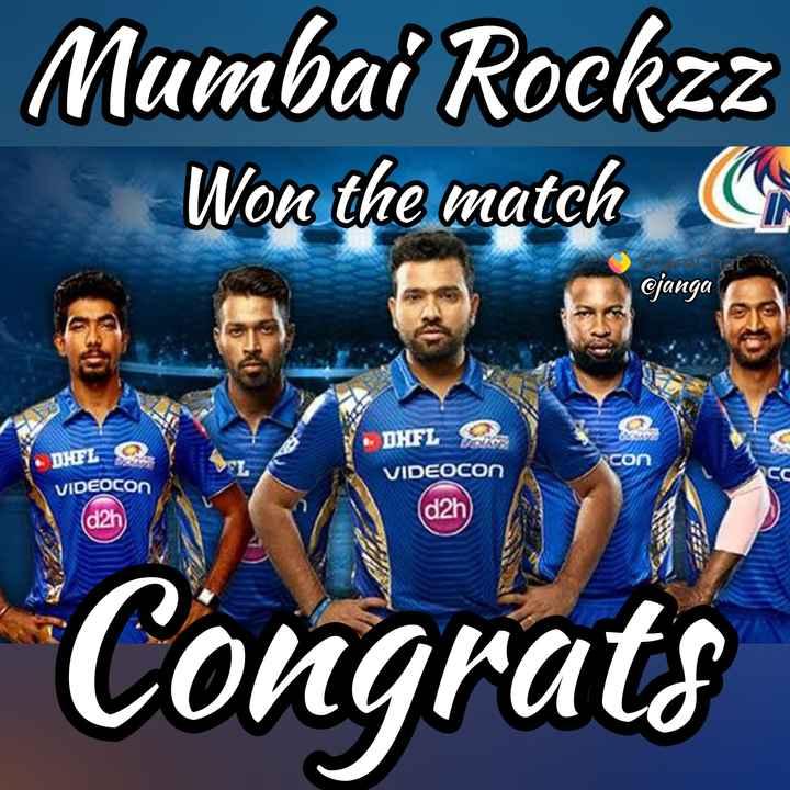 🏏 MI 🔵 vs KKR 🖤 - Mumbai Rockzz Won the match arenat @ janga DHFL COM DHEL 2 VIDEOCON VIDEOCON ( d2h ( d2h Congrats - ShareChat