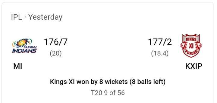 MI vs KXIP - IPL · Yesterday ( 5 ) 176 / 7 KINGS 177 / 2 ( 18 . 4 ) MUMBAI INDIANS XI PUNI MI KXIP Kings XI won by 8 wickets ( 8 balls left ) T20 9 of 56 - ShareChat