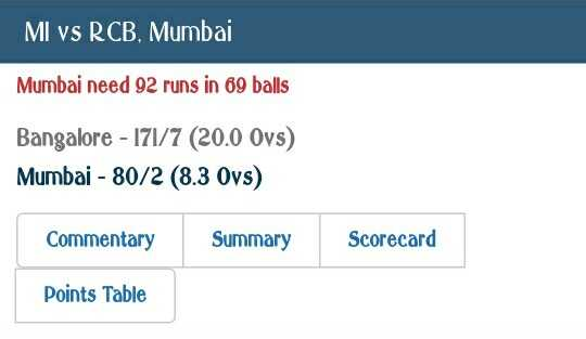 MI vs RCB - MI vs RCB , Mumbai Mumbai need 92 runs in 69 balls Bangalore - 171 / 7 ( 20 . 0 Ovs ) Mumbai - 80 / 2 ( 8 . 3 Ovs ) Commentary Summary Scorecard Points Table - ShareChat