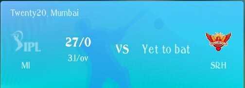 🏏 MI vs SRH - Twenty20 . Mumbai > IPL 27 / 0 VS Yet to bat 3 . 1 / ov MI SRH - ShareChat