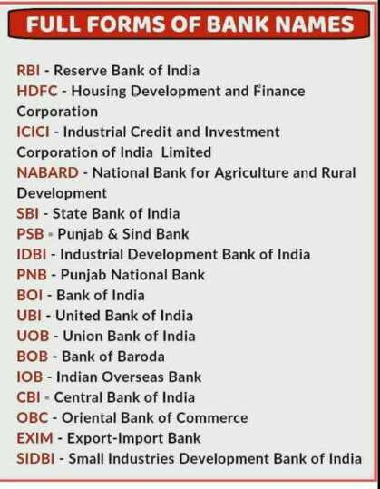 💼MPSC - FULL FORMS OF BANK NAMES RBI - Reserve Bank of India HDFC - Housing Development and Finance Corporation ICICI - Industrial Credit and Investment Corporation of India Limited NABARD - National Bank for Agriculture and Rural Development SBI - State Bank of India PSB - Punjab & Sind Bank IDBI - Industrial Development Bank of India PNB - Punjab National Bank BOI - Bank of India UBI - United Bank of India UOB - Union Bank of India BOB - Bank of Baroda IOB - Indian Overseas Bank CBI - Central Bank of India OBC - Oriental Bank of Commerce EXIM - Export - Import Bank SIDBI - Small Industries Development Bank of India - ShareChat