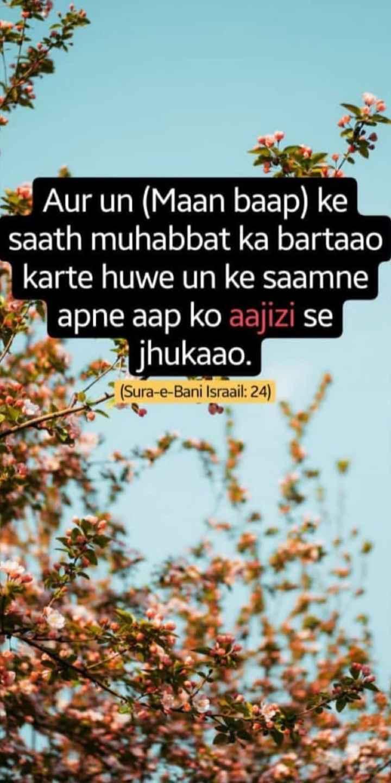 Mehfil-E-Mohabbat - Aur un ( Maan baap ) ke saath muhabbat ka bartaao karte huwe un ke saamne apne aap ko aajizi se jhukaao . ( Sura - e - Bani Israail : 24 ) - ShareChat