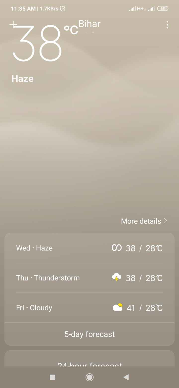 Mera Bihar - 11 : 35 AM | 1 . 7KB / s © 111 H + all 63 oo Bihar Haze More details Wed - Haze CS 38 / 28°C Thu · Thunderstorm 38 / 28°C Fri Cloudy 41 / 28°C 5 - day forecast 21 _ bour foroonet - ShareChat