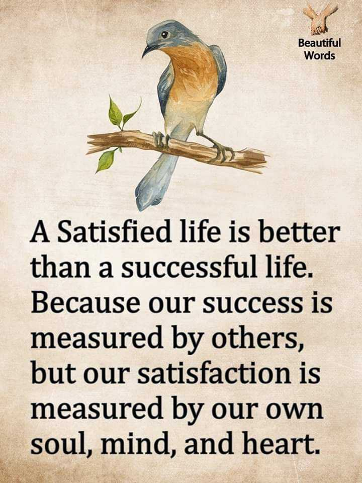 👍 Monday Motivation - Beautiful Words A Satisfied life is better than a successful life . Because our success is measured by others , but our satisfaction is measured by our own soul , mind , and heart . - ShareChat