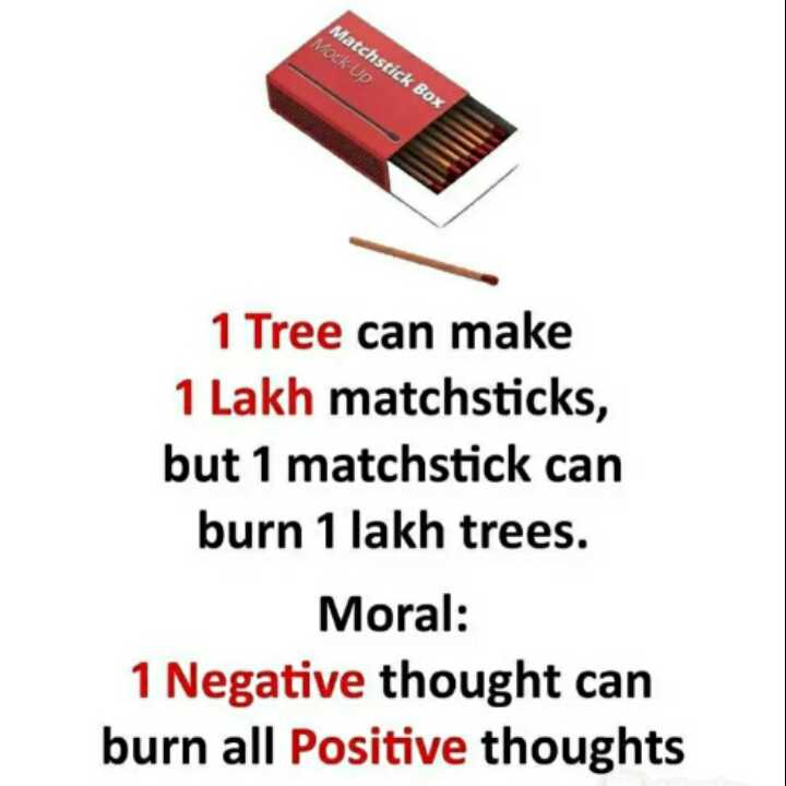 👍 Motivational Quotes✌ - Matchstick Box Mock - Up 1 Tree can make 1 Lakh matchsticks , but 1 matchstick can burn 1 lakh trees . Moral : 1 Negative thought can burn all Positive thoughts - ShareChat