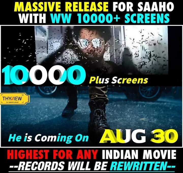 📸Multi screen videos - MASSIVE RELEASE FOR SAAHO WITH WW 10000 + SCREENS 10000 Plus screens Plus Screens THYVIEW TERE He is Coming Onz HIGHEST FOR ANY INDIAN MOVIE - - RECORDS WILL BE REWRITTEN - - - ShareChat