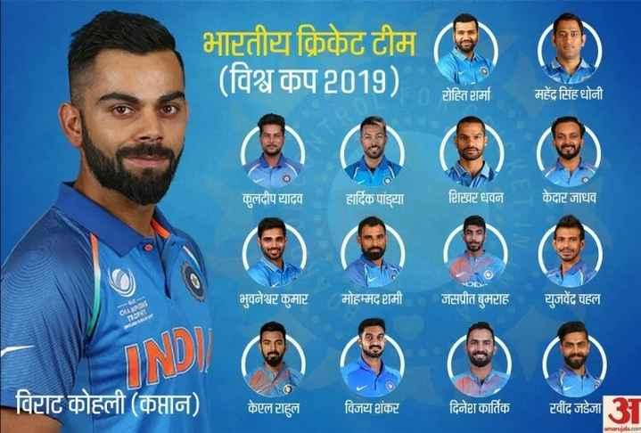 🏏 My Team-11 - भारतीय क्रिकेट टीम ( विश्व कप 2018 ) प प - १L0T0 / रोहित शर्मा महेंद्र सिंह धोनी कुलदीप यादव हार्दिक पांड्या टिटवर धवन केदार जाधव भुवनेश्वर कुमार मोहम्मद शमी जसप्रीत बुमटाह युजवेंद्र चहल विटाट कोहली ( कप्तान ) केएल राहुल विजय शंकर दिनेश कार्तिक रवींद्र जडेजा - ShareChat