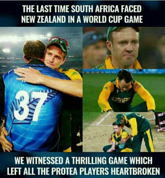 🏏NZ vs SA - THE LAST TIME SOUTH AFRICA FACED NEW ZEALAND IN A WORLD CUP GAME WE WITNESSED A THRILLING GAME WHICH LEFT ALL THE PROTEA PLAYERS HEARTBROKEN - ShareChat