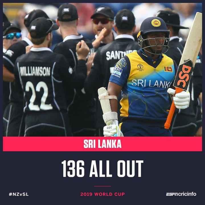 🏏NZ vs SL - SANTA ESNILLNE ENT RO SRI LANKA DSC SRI LANKA 136 ALL OUT # NZ SL 2019 WORLD CUP Esrncricinfo - ShareChat
