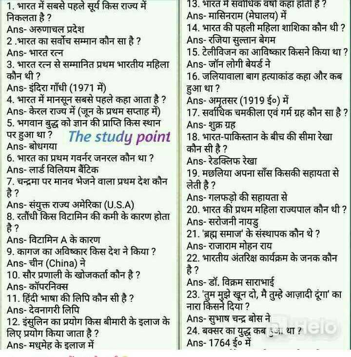 🎥 Online तैयारी वीडियो - 1 . भारत में सबसे पहले सूर्य किस राज्य में 13 . भारत में सर्वाधिक वषा कहा हाती है ? निकलता है ? Ans - मासिनराम ( मेघालय ) में Ans - अरुणाचल प्रदेश 14 . भारत की पहली महिला शाशिका कौन थी ? 2 . भारत का सर्वोच सम्मान कौन सा है ? Ans - रजिया सुल्तान बेगम Ans - भारत रत्न 15 . टेलीविजन का आविष्कार किसने किया था ? 3 . भारत रत्न से सम्मानित प्रथम भारतीय महिला | Ans - जॉन लोगी बेयर्ड ने कौन थी ? 16 . जलियावाला बाग हत्याकांड कहा और कब Ans - इंदिरा गाँधी ( 1971 में ) हुआ था ? 4 . भारत में मानसून सबसे पहले कहा आता है ? Ans - अमृतसर ( 1919 ई० ) में Ans - केरल राज्य में ( जन के प्रथम सप्ताह में ) 17 . सर्वाधिक चमकीला एवं गर्म ग्रह कौन सा है ? 5 . भगवान बुद्ध को ज्ञान की प्राप्ति किस स्थान Ans - शुक्र ग्रह पर हुआ था ? Thestudu point 18 . भारत - पाकिस्तान के बीच की सीमा रेखा Ans - बोधगया कौन सी है ? 6 . भारत का प्रथम गवर्नर जनरल कौन था ? Ans - रेडक्लिफ रेखा Ans - लार्ड विलियम बैंटिक 19 . मछलिया अपना साँस किसकी सहायता से 17 . चन्द्रमा पर मानव भेजने वाला प्रथम देश कौन लेती है ? है ? Ans - गलफड़ो की सहायता से Ans - संयुक्त राज्य अमेरिका ( U . S . A ) 20 . भारत की प्रथम महिला राज्यपाल कौन थी ? 8 . रतौंधी किस विटामिन की कमी के कारण होता Ans - सरोजनी नायडु 21 . ' ब्रह्म समाज ' के संस्थापक कौन थे ? Ans - विटामिन A के कारण 9 . कागज का अविष्कार किस देश ने किया ? Ans - राजाराम मोहन राय Ans - चीन ( China ) ने 22 . भारतीय अंतरिक्ष कार्यक्रम के जनक कौन 10 . सौर प्रणाली के खोजकर्ता कौन है ? है ? Ans - कॉपरनिक्स Ans - डॉ . विक्रम साराभाई 11 . हिंदी भाषा की लिपि कौन सी है ? 23 . ' तुम मुझे खून दो , मै तुम्हे आज़ादी दूंगा ' का Ans - देवनागरी लिपि नारा किसने दिया ? 12 . इंसुलिन का प्रयोग किस बीमारी के इलाज के Ans - सुभाष चन्द्र बोस ने लिए प्रयोग किया जाता है ? 24 . बक्सर का युद्ध कब हुआ था ? eio Ans - मधुमेह के इलाज में Ans - 1764 ई० में - ShareChat