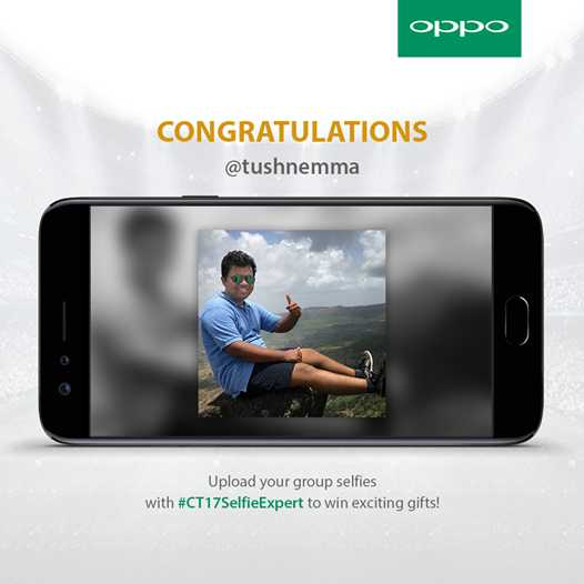 📱Oppo ਲਵਰਜ਼ - OPPO CONGRATULATIONS @ tushnemma Upload your group selfies with # CT17SelfieExpert to win exciting gifts ! - ShareChat