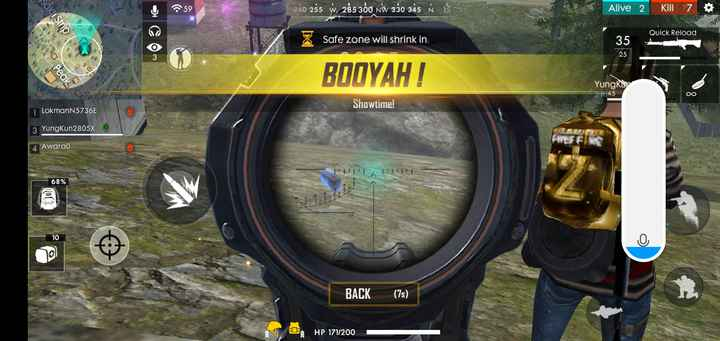 🔫 PUBG - 59 240 255 W , 285 300 NW 330 345 À 15 Alive 2 Kill 7 sakit Strip Quick Reload Safe zone will shrink in : 35 25 O peak BODYAH ! Yungkan 2 m 45 Showtime ! 1 LokmanN5736E 3 Yungkun2805X O 4 Awarao 68 % BACK ( 75 ) 0 HP 171 / 200 - ShareChat