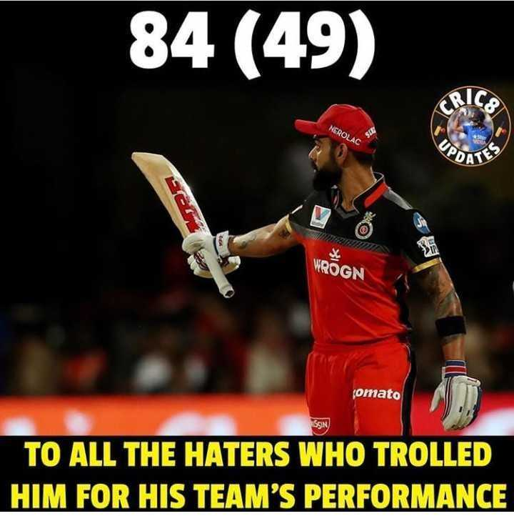 🏏 RCB ❤️ vs KKR 🖤 - 84 ( 49 ) NEROLAC чPDA WROGN fomato SSIN TO ALL THE HATERS WHO TROLLED HIM FOR HIS TEAM ' S PERFORMANCE - ShareChat