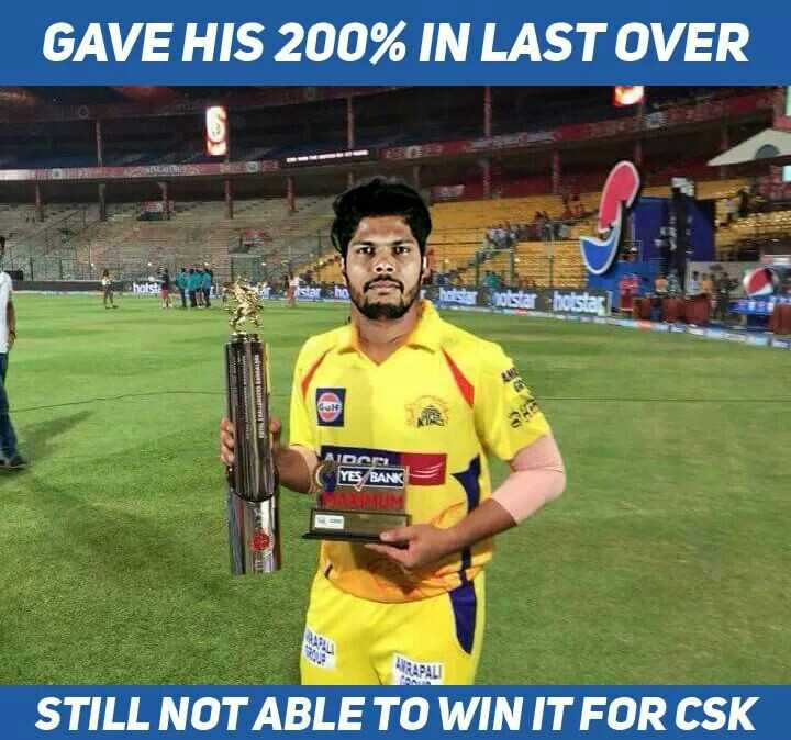RCB vs CSK - GAVE HIS 200 % IN LAST OVER MIOCO YES BANK MUM KAPALI STILL NOT ABLE TO WIN IT FOR CSK - ShareChat