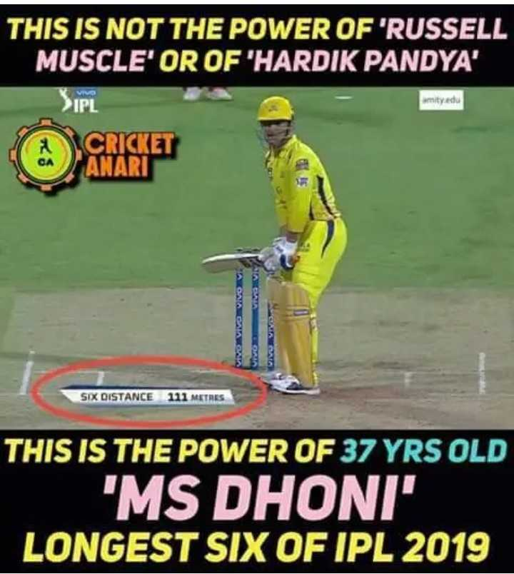 RCB vs CSK - THIS IS NOT THE POWER OF ' RUSSELL MUSCLE ' OR OF HARDIK PANDYA ' VIVO IPL mity edu 9 AGAA GAAKEA NAGAS SIX DISTANCE 111 METRES THIS IS THE POWER OF 37 YRS OLD MS DHONI LONGEST SIX OF IPL 2019 - ShareChat