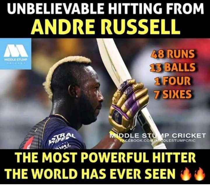 RCB vs KKR - UNBELIEVABLE HITTING FROM ANDRE RUSSELL MIDDLE STUMP 48 RUNS 13 BALLS 1 FOUR 7 SIXES MIDDLE STU 1P CRICKET FACEBOOK . COM / MODLESTUMPCRIC THE MOST POWERFUL HITTER THE WORLD HAS EVER SEEN - ShareChat