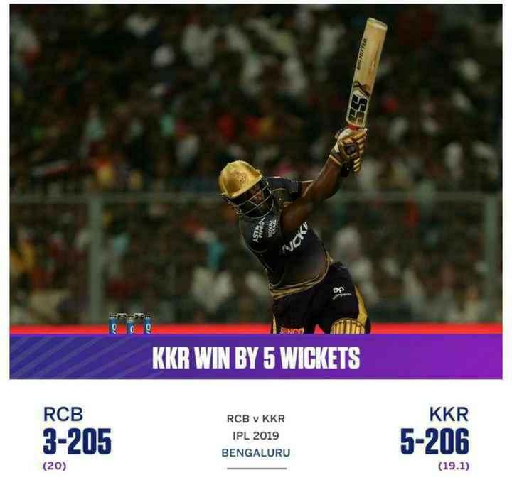 🔴 RCB vs KKR 💜 - KKR WIN BY 5 WICKETS RCB KKR 3 - 205 RCB • KKR IPL 2019 BENGALURU 5 - 206 ( 20 ) ( 19 . 1 ) - ShareChat