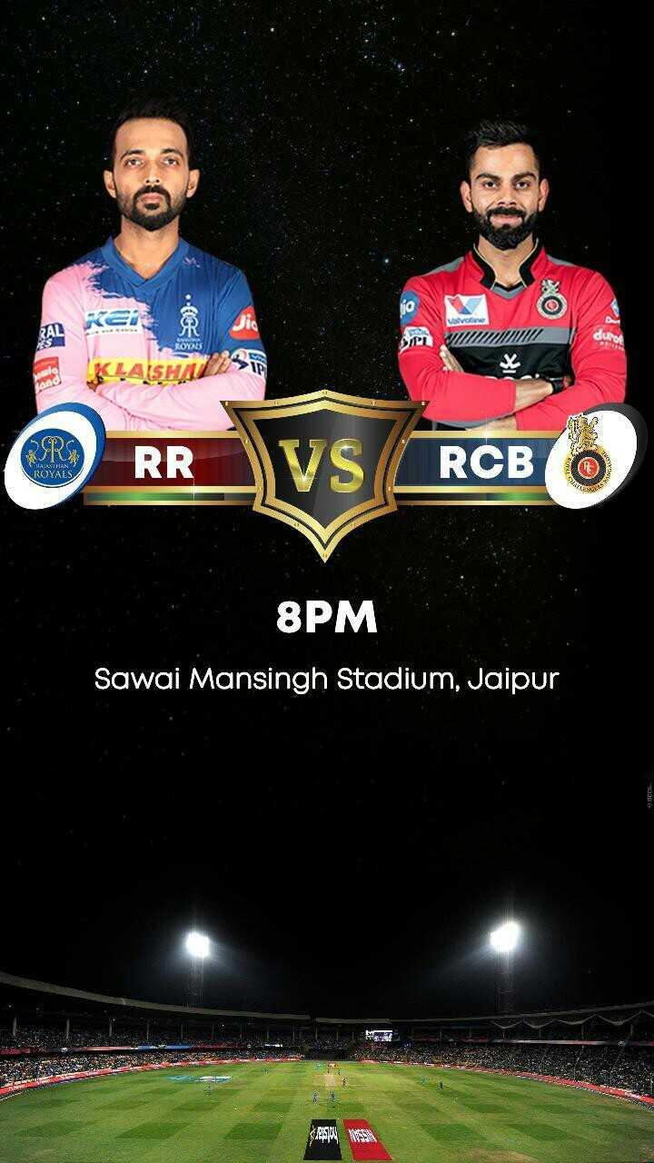 RCB vs RR - . Vivoba 2 RAL ROYALS AISHILL OP KI THALASTHAN ROYALS EUR RR RCB 8PM Sawai Mansingh Stadium , Jaipur - ShareChat