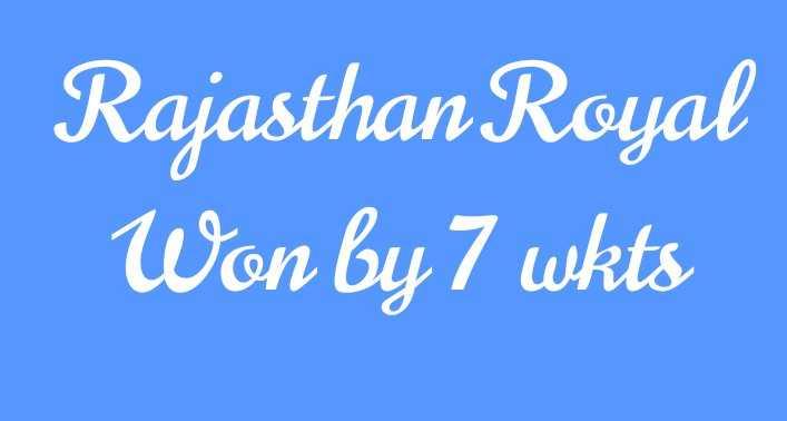 RCB vs RR - Rajasthan Royal Won by 7 wkts - ShareChat
