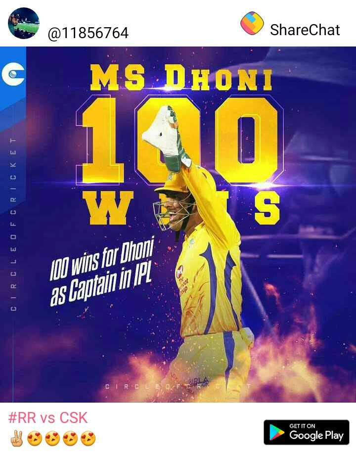 RR vs CSK - @ 11856764 ShareChat MS DHONI CIRCLEO FCRICKET 100 wins for Dhoni as capitain in IPL CIRCLE OF # RR vs CSK GET IT ON Google Play - ShareChat