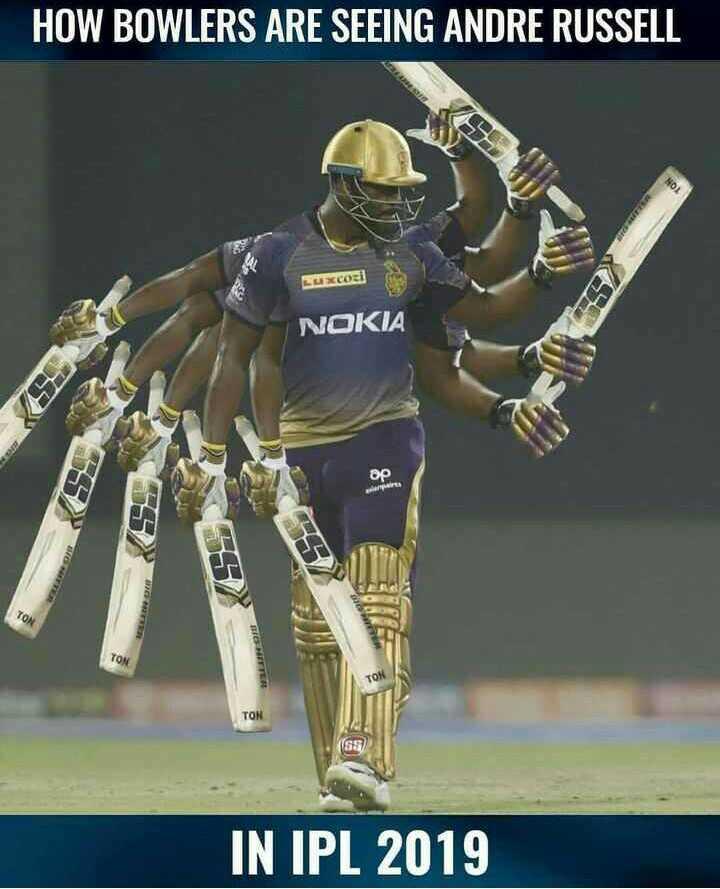 🏏RR vs KKR - HOW BOWLERS ARE SEEING ANDRE RUSSELL cozi NOKIA ор wapi BER TO HIER TON IN IPL 2019 - ShareChat