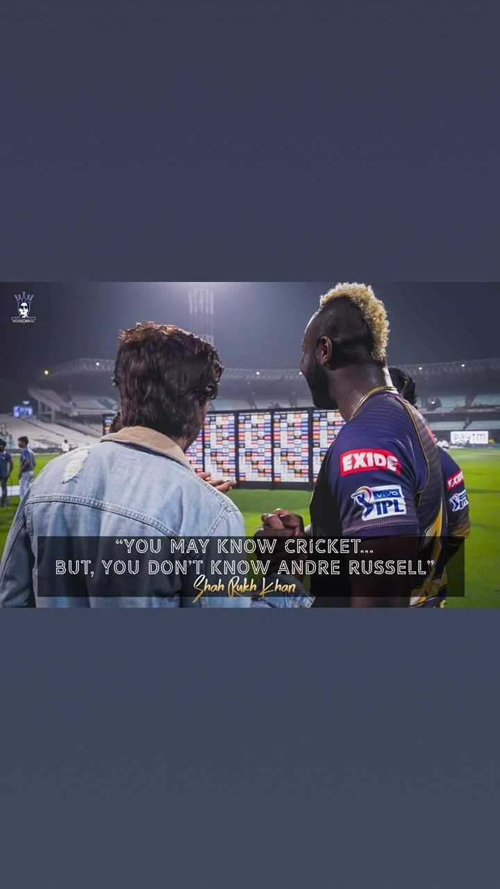 🏏RR vs KKR - Par EXIDE Vivo IPL YOU MAY KNOW CRICKET . . . BUT , YOU DON ' T KNOW ANDRE RUSSELL Shah Rukh khan - ShareChat