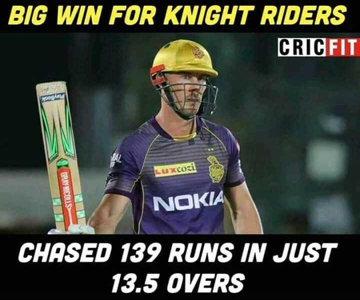 🏏RR vs KKR - BIG WIN FOR KNIGHT RIDERS CRICFIT Luxcozi < ST103IN AVUS NOKIA CHASED 139 RUNS IN JUST 13 . 5 OVERS - ShareChat