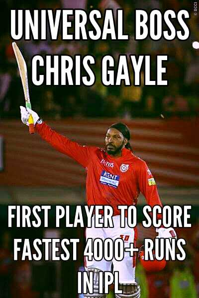 🏏RR vs KXIP - BCCI UNIVERSAL BOSS CHRIS GAYLE FIRST PLAYER TO SCORE FASTEST 4000 4 RUNS IN IPL - ShareChat