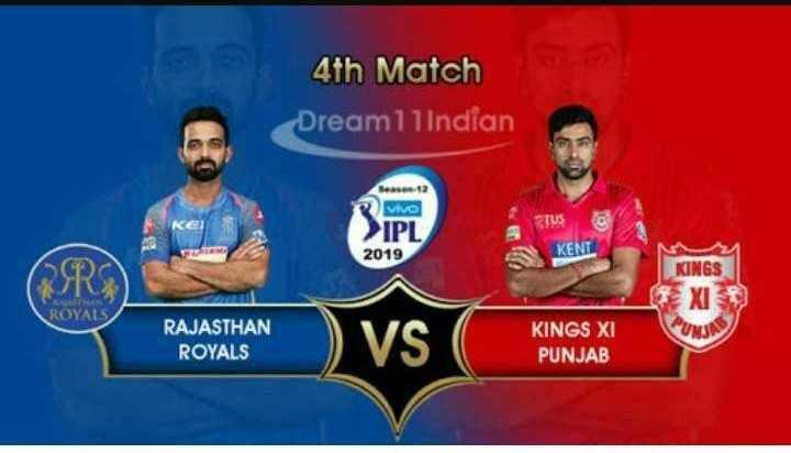 🏏 RR 💜 vs KXIP 💗 - 4th Match Dream11 Indian KEN wa IPL 2019 stus KEN KINGS TXI UNJA ROYALS RAJASTHAN ROYALS ) VS KINGS XI PUNJAB - ShareChat