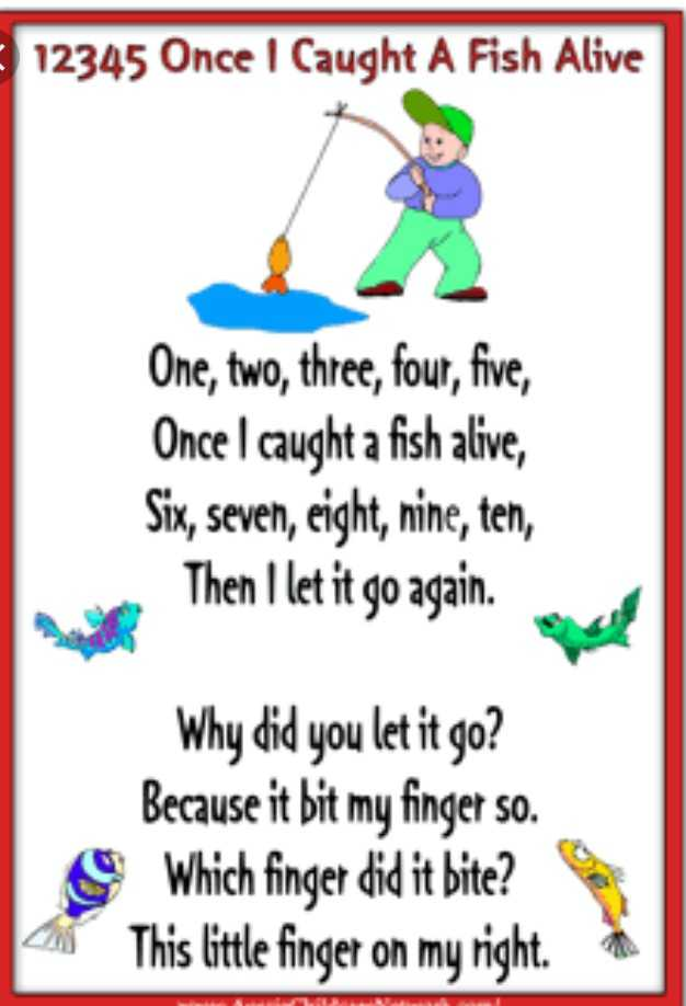 Rhymes - 12345 Once I Caught A Fish Alive One , two , three , four , five , Once I caught a fish alive , Six , seven , eight , nine , ten , Then I let it go again . Why did you let it go ? Because it bit my finger so . Which finger did it bite ? This little finger on my right - ShareChat