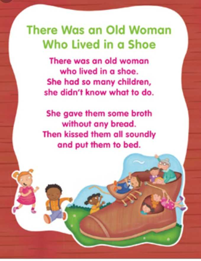 Rhymes - There was an Old Woman Who Lived in a Shoe There was an old woman who lived in a shoe . She had so many children , she didn ' t know what to do She gave them some broth without any bread . Then kissed them all soundly and put them to bed . - ShareChat