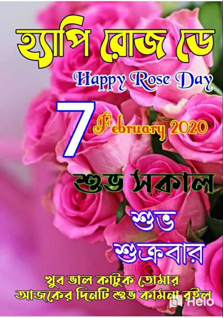 Rose ডে 🌹 - হৃপি রােজ ড়ে । Happy Rose Day 7 © ভ সকাল । শুক্রবার খুব ভাল কাটুক তােমার আজকের দিনটি শুভ কামনা রইল । - ShareChat