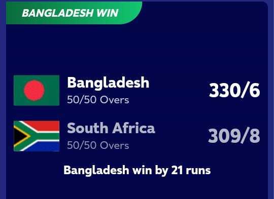 🏏SA vs BAN - BANGLADESH WIN Bangladesh 50 / 50 Overs 330 / 6 South Africa 50 / 50 Overs 309 / 8 Bangladesh win by 21 runs - ShareChat