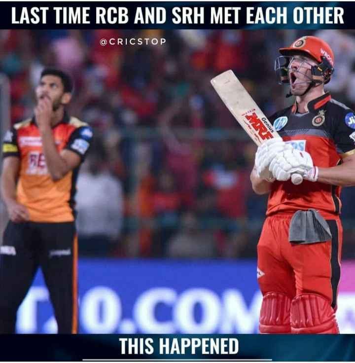 🏏SRH vs RCB - LAST TIME RCB AND SRH MET EACH OTHER @ CRICSTOP Genius 0 . CON THIS HAPPENED - ShareChat