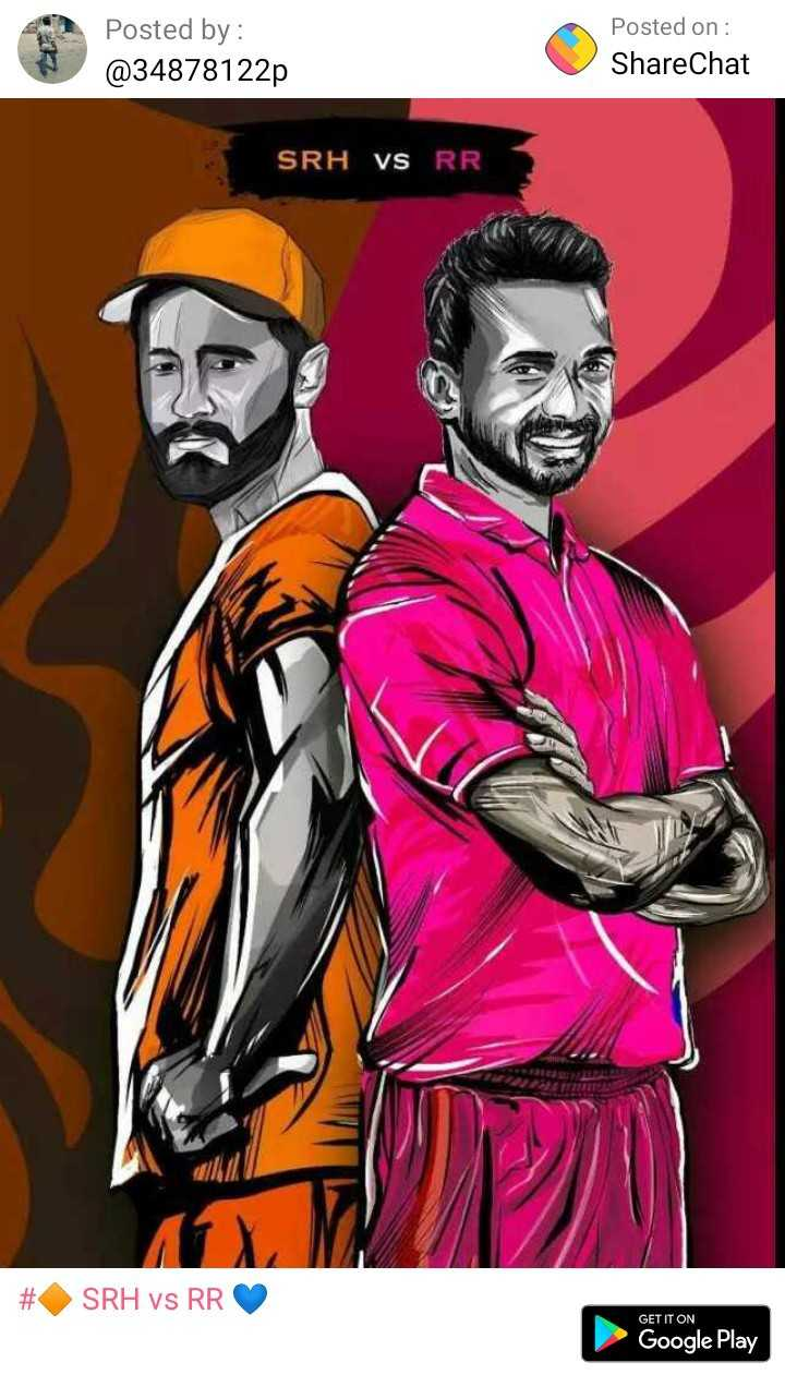 🔶 SRH vs RR 💙 - Posted by : @ 34878122p Posted on : ShareChat SRH VS RR SRH vs RR GET IT ON Google Play - ShareChat