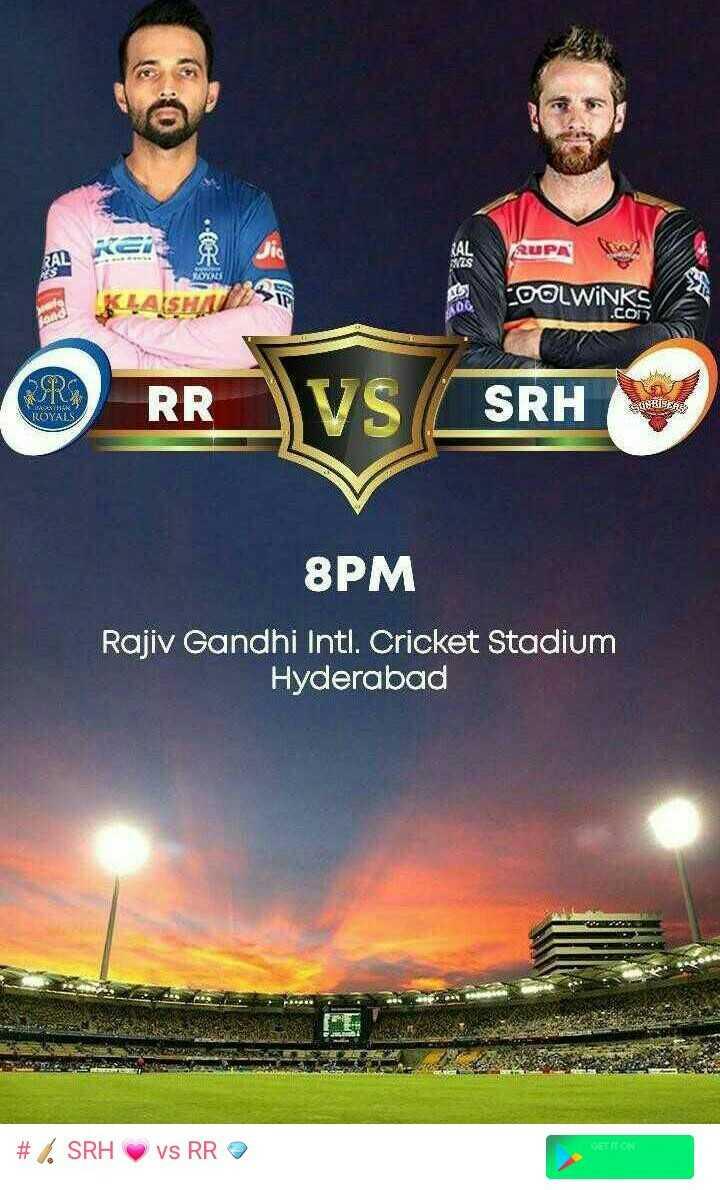 🏏 SRH 💗 vs RR 💜 - AR KEi . 8 RUPA KLASHA DOLWINKS RODO UT ROYALS RR SRH 8PM Rajiv Gandhi Intl . Cricket Stadium Hyderabad GET IT ON # SRH vs RR - ShareChat