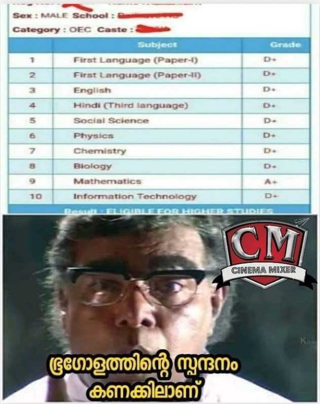 SSLC റിസൾട്ട് - Grade D D . D . Sex : MALE School : Category : OEC Caste : Subject First Language ( Paper - ) First Language ( Paper - 11 ) English Hindi ( Third language ) Social Science Physics Chemistry Biology Mathematics 10 Information Technology D . D D . D . A . Pest ENIGIELE FOR HIGHER ST DIE CM CINEMA MIXER ഭൂഗോളത്തിന്റെ സ്പന്ദനം കണക്കിലാണ് - ShareChat