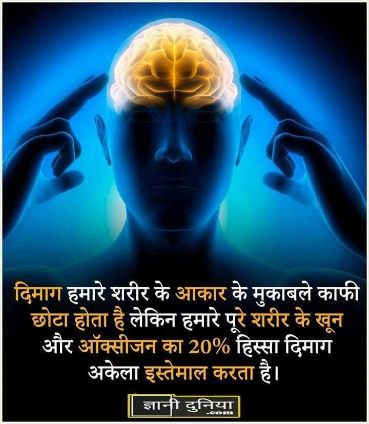🔬Science - दिमाग हमारे शरीर के आकार के मुकाबले काफी छोटा होता है लेकिन हमारे पूरे शरीर के खून और ऑक्सीजन का 20 % हिस्सा दिमाग अकेला इस्तेमाल करता है । | ज्ञानी दुनिया - ShareChat